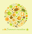 summer background with marine icons in circle vector image vector image