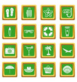 summer rest icons set green vector image vector image
