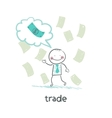 trade thinks about money vector image vector image