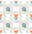 watercolor cute animal pattern vector image