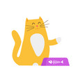yellow cat asking for food vector image vector image