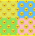 yellow emoji seamless pattern set on a color vector image vector image