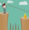 Businessman rope over cliff vector image