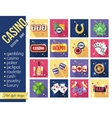 Set of colorful modern gambling icons casino vector image