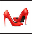 realistic detailed 3d woman high heel red shoes vector image