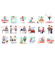 active day of happy woman daily routine cartoon vector image vector image