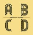 alphabet polynesian style in a set abcd vector image vector image