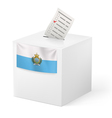 Ballot box with voting paper San Marino vector image vector image