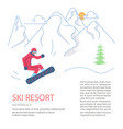 banner template for mountain ski resort vector image vector image