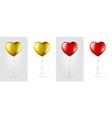 big set golden and red heart shaped foil vector image vector image