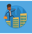 business man walking on the roofs of buildings vector image vector image
