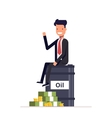 Businessman or manager sitting on a barrel of oil vector image