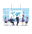 cartoon color characters people meeting office vector image vector image
