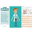 cartoon little doctor boy character set vector image
