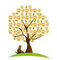 Cat dog and footprint tree logo vector image vector image