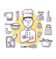 chef doodle profession vector image