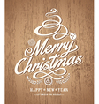 christmas card design on wood texture background vector image vector image