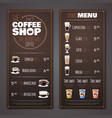 coffee shop menu design template vector image vector image