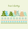 cute christmas trees and snowflakes greeting card vector image vector image