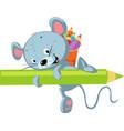 cute mouse hold crayon - funny cartoon illu vector image vector image
