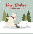 cute retro flat design christmas card with vector image vector image