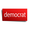 democrat red square isolated paper sign on white vector image