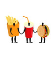 fast food friends french fries and hamburger vector image