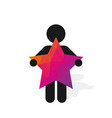 figure man holds pink star vector image vector image