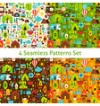 four flat camping patterns set vector image