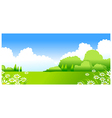 Green Landscape with white Flowers vector image vector image