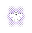 Halloween ghost icon comics style vector image vector image