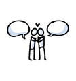 hand drawn romantic stick figure couple kissing vector image vector image