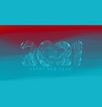 happy new year 2021 wavy background with glowing vector image vector image