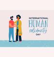 human solidarity day card of woman helping man vector image vector image