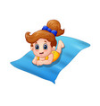 little girl lying on the mats vector image vector image