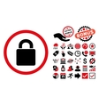 Lock Flat Icon with Bonus vector image vector image