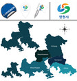 map of changwon with districts south korea vector image vector image