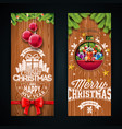 merry christmas banner design with glass ball vector image vector image