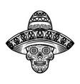 mexican sugar skull in sombrero day dead vector image