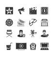 Movie Black Icons Set vector image vector image