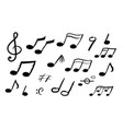 music notes hand drawn sound symbols melody vector image