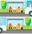 People are waiting a bus and using gadgets at this vector image vector image