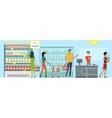 People in Supermarket Interior Design vector image vector image