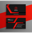 red and black geometric business card template vector image vector image