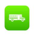 school bus icon digital green vector image vector image