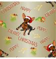 seamless texture happy puppy dog santa merry vector image vector image