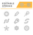 set line icons microbe and bacterium vector image vector image