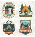 set summer camp patches concept print vector image vector image
