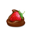 strawberry in liquid chocolate realistic vector image vector image