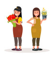 women florists workers of flower shop vector image
